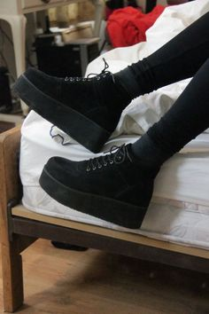 shoes platform shoes platform sneakers black lace up flatform boots creepers smooth velvet grunge high-top punk black shoes black booties suede suede boots grunge shoes platform lace up boots black boots high top sneakers high top sneakers Dr Shoes, Crazy Shoes, Sock Shoes, Cute Shoes, Me Too Shoes, Shoe Boots, Black Shoes Sneakers, Black Booties, Grunge Fashion