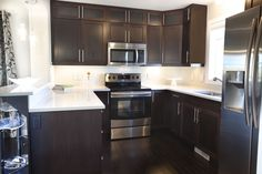 dark cabinet with white subway tile - Google Search
