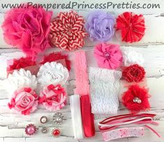 DIY-Headband Kit 11-13 Headbands- Valentine's Day Mix by PamperYourPrincess on Etsy https://www.etsy.com/listing/218259365/diy-headband-kit-11-13-headbands