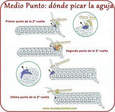 Medio punto - Single crochet - вязание крючком пунктов
