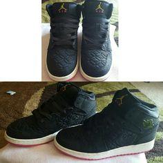 Black Girls Jordans Black, white, and hot pink high top Air Jordans . Jordan Shoes Sneakers