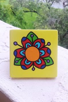 Hand Painted Ceramic Tile Yellow Abstract Flower by Vivian Estalella