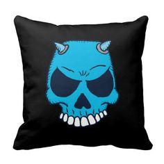 Blue Demon Skull Pillow
