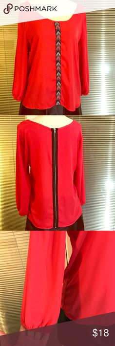 """Society girl flowy blouse Deep coral color blouse with boho chic detail. In EUC 19"""" UA to UA 23"""" length 100% polyester society girl Tops Blouses"""