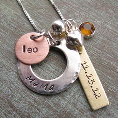 This version of my personalized family charm necklace has only 3 charms by popular request. It makes the perfect hand stamped mixed metals