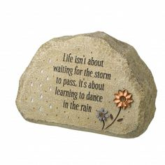 Put this beautiful Life isn't about waiting garden rock in a special spot in your #garden for a warm feeling of happiness and encouragement! Only $19.99 from Parties2order