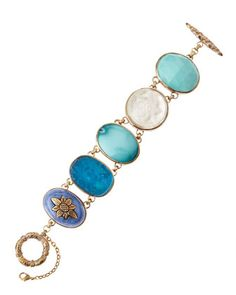 Turquoise, Rock Crystal, & Sodalite Toggle Bracelet by Stephen Dweck at Neiman Marcus Last Call.