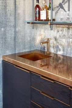 Charred Pine and Brass Bar with Hanging Collector's Shelving Unit - Amuneal: Magnetic Shielding & Custom Fabrication