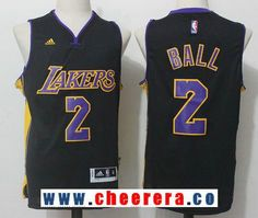7dbac49393fa Men s 2017 Draft Los Angeles Lakers  2 Lonzo Ball Black Stitched NBA adidas  Revolution 30
