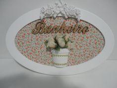Placa para banheiro, com fundo em tecido e palavra em mdf, pode ser feito na cor desejada ou com palavra lavabo. R$ 59,00