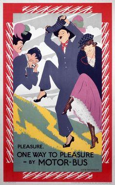 Pleasure. One Way to Pleasure - By Motor-Bus, by Christopher Richard Wynne Nevinson