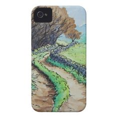 woodland path landscape drawing iPhone 4 covers