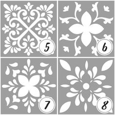 Template or stencil with tile designs and mandalas - Tile stencil - Mandala painting - stencil for paint Mandala Stencils, Mandala Painting, Stencil Painting, Ceramic Painting, Stenciling, Painted Ceramic Plates, Crafts To Make, Diy Home Crafts, Stencil Decor