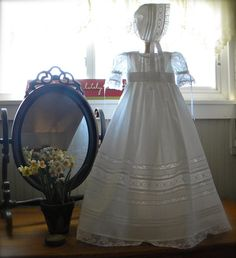 Olivia's Christening Gown Slip and Bonnet by SweetbabysBoutique, $250.00