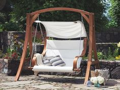 Lenore Swing Seat with Stand Sol 72 Outdoor Outdoor Swing With Canopy, Outdoor Patio Swing, Canopy Swing, Backyard Swings, Porch Swing, Outdoor Gardens, Garden Swings, Backyard Seating, Garden Swing Sets