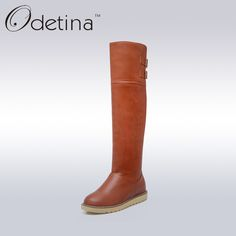 Find More Women's Boots Information about Odetina Brown Knee High Boots Flat Large Size Womens Pu Boots Long Platform Fashion Female 2016 Winter Boots Botas Largas Mujer,High Quality boots rain boots,China boots back Suppliers, Cheap boots string from Odetina - Store on Aliexpress.com