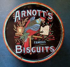Arnott's Biscuit tin - My Dad worked for Arnotts way back when. Advertising Signs, Vintage Advertisements, Australian Icons, Australian Food, Contemporary Rustic Decor, Drinks Tray, Home Themes, Vintage Cookies, Vintage Tins