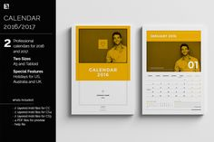 Calendar Templates for 2016 / 2017 by Egotype on Creative Market