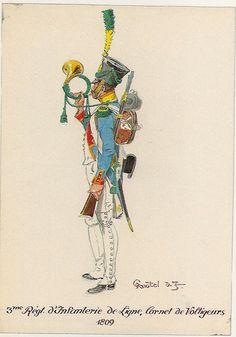 Cornetta della compagnia i volteggiatori del 3 rgt. fanteria di linea, 1809