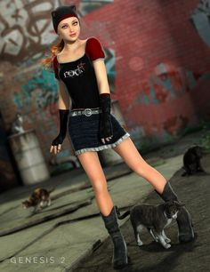 Purrfectly Playful Outfit for Genesis 2 Female(s)