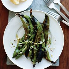 Grilled Fava Bean Pods with Chile and Lemon | Food & Wine