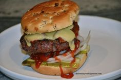 Bacon and Gruyère Burger cooked on the Big Green Egg [OC] [4928  3264]