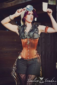 Steampunk Bronze Shimmer Long Underbust Corset Available from Timeless Trends.