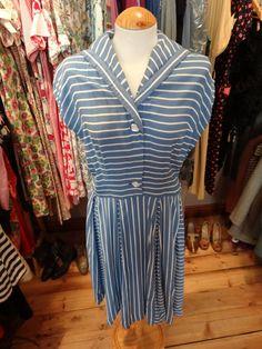 1940s Blue Sailor Dress  Genuine Original by PepperLaneExclusives, $165.00