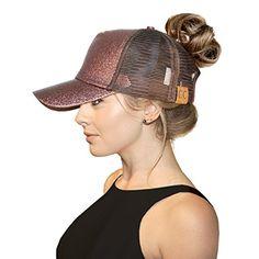 4e24f09f6 FADA Black Glitter Ponytail Baseball Cap for High Ponytail Women Girl Messy  Bun Shinny Ponycaps Baseball Hat at Amazon Women's Clothing store: