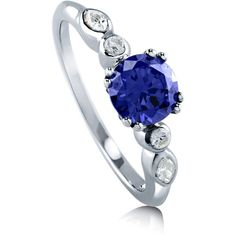 BERRICLE BERRICLE Sterling Silver Round Blue CZ Solitaire Promise... ($50) ❤ liked on Polyvore featuring jewelry, rings, blue, women's accessories, bezel set engagement rings, blue wedding rings, engagement rings, anniversary rings and sterling silver band rings