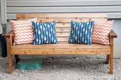Create the perfect place to enjoy the outdoors with this Slatted Outdoor Sofa. Beautiful lines on the legs and slatted seat/back make this sofa perfect with or without cushions. Easy build made primarily with 2x4 boards. Heavy duty wood screws add detail to the outside of the sofa.