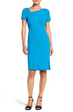 Adrianna Papell Asymmetrical Neck Sheath Dress available at #Nordstrom