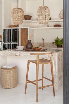 Kitchen Counter Stools, Wood Bar Stools, Modern Bar Stools, Unique Bar Stools, Bar Kitchen, Kitchen Redo, Kitchen Ideas, Ibiza Style Interior, Bohemian Kitchen