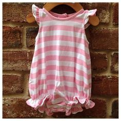 Pink/White Striped Angel Sleeve Knit Bubble by Lambs in Ivy Basics - S/S