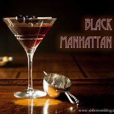 """Black Manhattan 2 ounces bourbon, because it is darker and deeper than rye. 1 ounce Averna (or another Italian """"amaro"""") 2 dashes Angostura bitters or go get crazy and do 1 dash Angostura bitters and 1 dash orange bitters. garnish with Luxardo cherries Combine first three ingredients in an ice filled cocktail shaker or glass. Shake or mix well to chill and strain into a chilled cocktail glass. Garnish with cherries."""