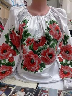 Ukrainian Handmade Beaded Blouse with Poppies/ Seed Beads Embroidery/Beading… Embroidery Dress, Beaded Embroidery, Ethno Style, Unique Outfits, Blouse Designs, Seed Beads, Poppies, Floral Tops, Fashion Dresses