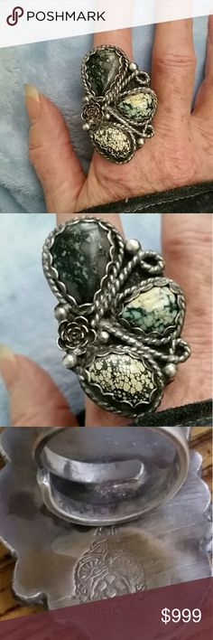 Vintage Lander Turquoise Huge Ring adjustable This is one of the coolest things I've ever seen it is stamped 925. See 3rd photo for close up of the owl face, the initials TW and the word Hoot above the face. Picture is upside down sorry my other ones were blurry. I do not know who made this. It is Serling silver and I do know it's new Lander turquoise. The ring size is adjustable Vintage  Jewelry Rings