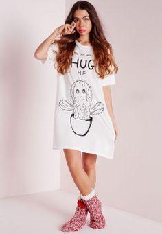 f6fa344177 No One Will Hug Me Slogan Nightshirt White Sleepwear Women