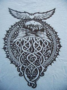 Keltic Jellyfish with mountains shirt. $20.00, via Etsy.