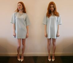 Missguided Pale Blue Scuba Boxy Dress, She Likes White Pointed Shoes