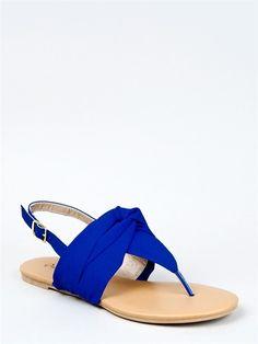 NEW Qupid Women Flat T Strap Knotted Slingback Thong Sandals Cobalt Blue  lana291