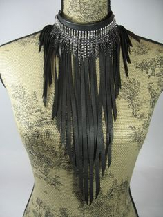 Black Leather Statement Necklace Edgy Jewelry Rhinestone Bib  Choker. $128.00, via Etsy.