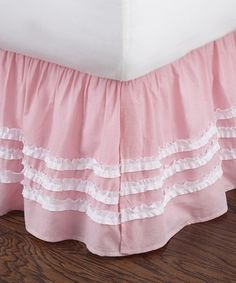 Love this Pink Ruched Bed Skirt on #zulily! #zulilyfinds