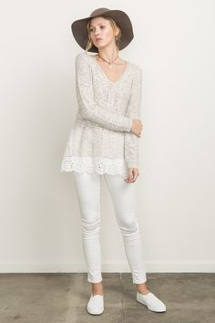 87f62ae859f Mystree Eyelet Lace Sweater   Hurricane Ltd.