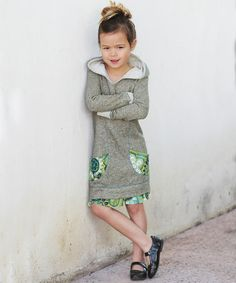 Love this Olive Floral Pocket Hoodie Dress - Toddler & Girls by Freckles + Kitty on #zulily! #zulilyfinds. $25.99