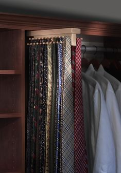 Saint Louis Closet Co. Tie Butlers add extra tie storage to dad's closet.