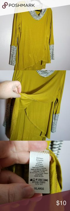 BE Stage Mustard and Stripe Cowl Neck NWOT BE Stage Mustard and Stripe Cowl Neck NWOT. Layered Top. Plus size 1x. BE Stage Tops Tunics