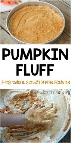 Pumpkin Fluff Sensory Activity - a really fun sensory play activity for children. And you only need 2 ingredients!