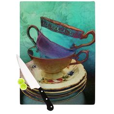Kess InHouse alyZen Moonshadow 'Mad Hatters T-Party I' Turquoise Cutting Board