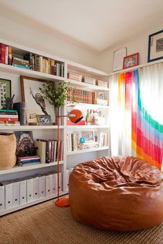 10 Totally Modern Rooms that Rock a 1970's Style | Apartment Therapy love the rainbow  curtains
